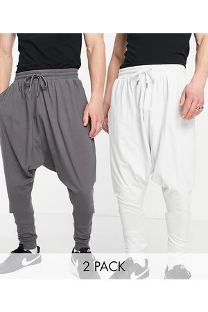 ASOS Lightweight extreme drop crotch joggers 2 pack in charcoal/light grey-Multi