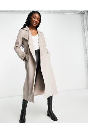 Forever New Belted trench coat with tortoise shell buttons in mink-Pink