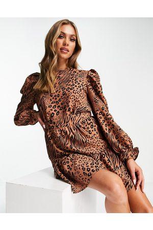 AX Paris Long sleeve mini dress in camel mixed animal print-Neutral