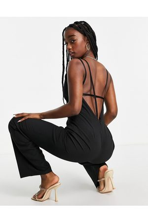 Vesper Wide leg jumpsuit with low back in black