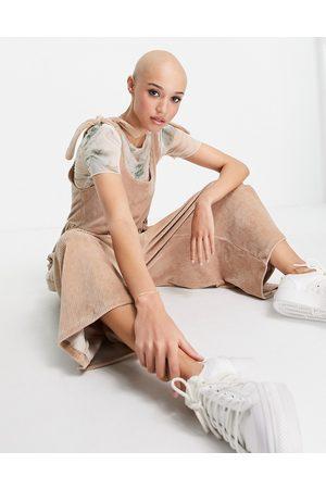 ASOS DESIGN Cord tie shoulder smock jumpsuit stone-Neutral