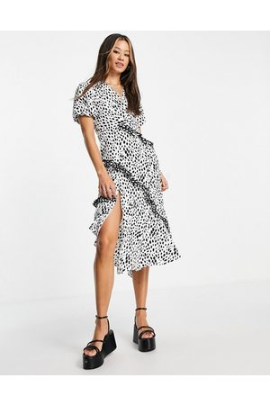 Topshop Mix and match mixed spot midi dress in mono-Multi