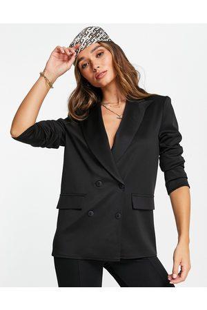 ASOS DESIGN Damen Blazer & Sakkos - Structured jersey double breasted blazer in black