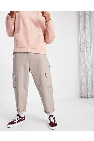 ASOS Carpenter wide leg trousers in -Neutral