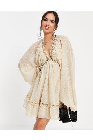 ASOS Damen Midikleider - Textured midi smock dress with blouson sleeve in stone-Neutral