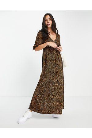 ASOS DESIGN V neck midi smock dress in leopard print-Multi