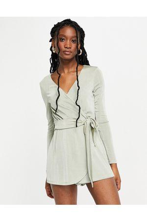 Miss Selfridge Long sleeve slinky wrap playsuit in sage-Green