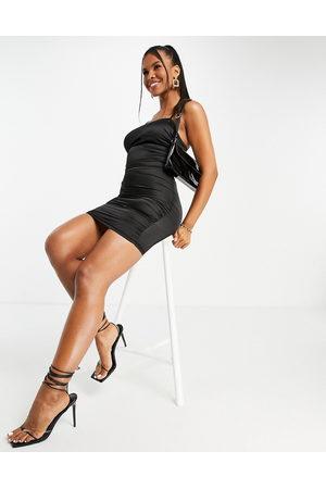 NaaNaa Square neck satin mini dress in black