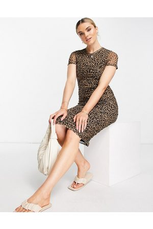 River Island Ruched leopard print midi dress in brown