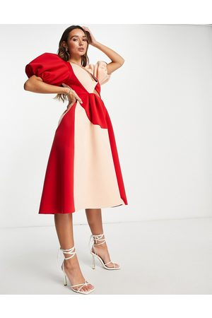 ASOS Puff sleeve twist plunge cut out prom midi dress in contrast colour-Multi