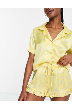 ASOS Floral satin shirt & frill short pyjama set in yellow