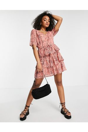 JDY Tiered v neck mini dress in pink abstract print-Multi