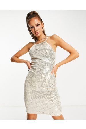 Ax Paris High neck glitter mini dress in