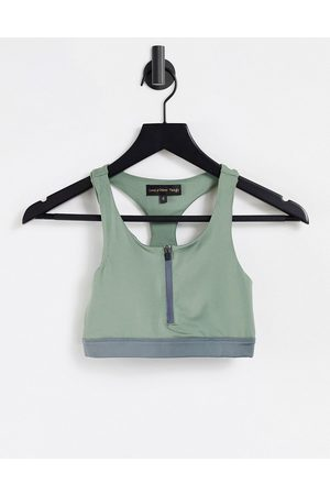 Love & Other Things Gym co-ord zip front sports bra in sage-Green