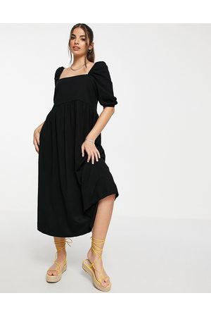 ASOS Square neck gathered puff sleeve midi dress in black
