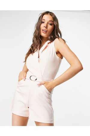 Morgan Wrap detail tux playsuit with belt detail in cream-White