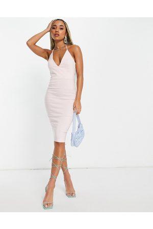 Vesper Damen Midikleider - Plunge front midi dress in stone-Pink