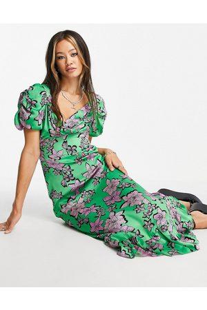 Topshop Bold satin puff sleeve midi dress in multi floral