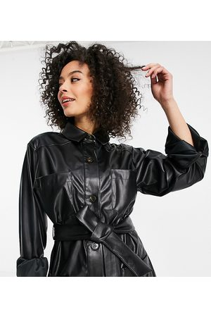 ASOS Tall ASOS DESIGN Tall waisted leather look shacket in black