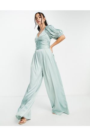 ASOS Damen Jumpsuits - Exaggerated sleeve satin jumpsuit in sage green