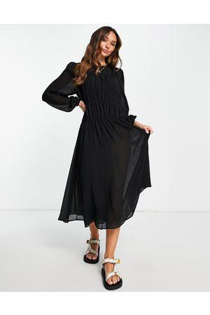 Mango Shirred midi dress in black