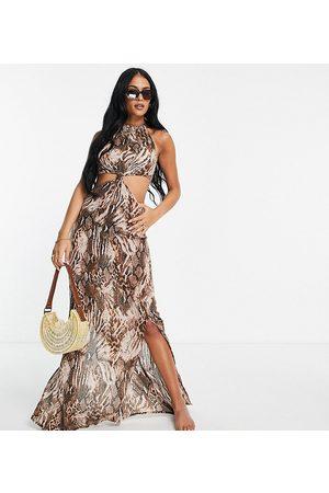 ASOS Tall ASOS DESIGN tall high neck cut out knot waist midi beach dress in blurred animal-Multi