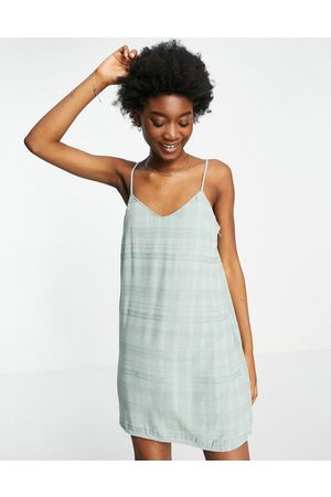 AMERICAN EAGLE Damen Bedruckte Kleider - Stripe printed slip dress in green