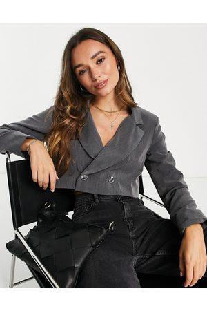 Flounce London Cropped blazer in grey co-ord