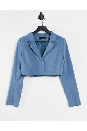 In The Style X Yasmin Chanel cropped blazer co ord in blue