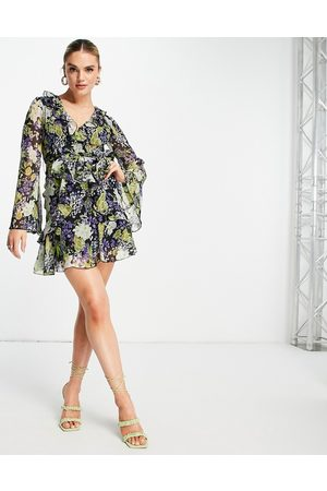 ASOS DESIGN Ruffle floral print mini dress with waist tie and flare sleeve-Multi