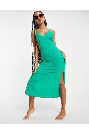 ASOS DESIGN Damen Midikleider - Sleek lace up low back midi dress in emerald green