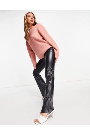 NA-KD Damen Strickpullover - Oversized deep back jumper in pink