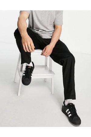 JACK & JONES Intelligence wide leg chino with drawstring waist in black