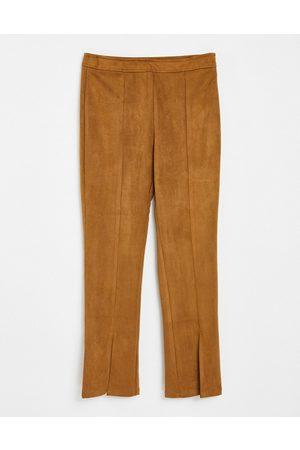 Threadbare Bellamy suede split front trousers in tan-Brown