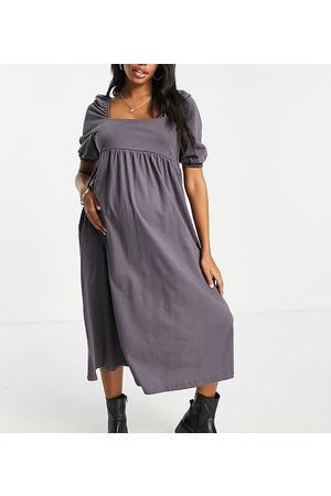 ASOS DESIGN Damen Midikleider - Maternity square neck gathered puff sleeve midi dress in grey
