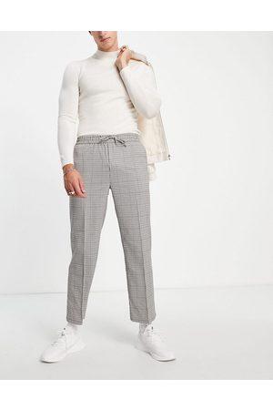 Topman Herren Chinos - Wide leg crop check pupstooth trousers-Neutral