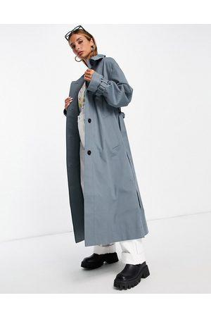 ASOS DESIGN Sharp collar trench coat in blue
