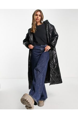 ASOS Faux leather quilted hooded puffer coat in black