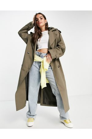 ASOS DESIGN Trench coat with hood in stone-Neutral