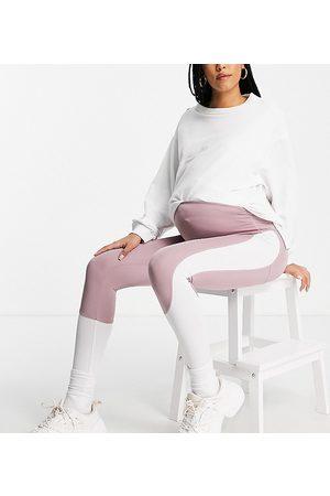 Love & Other Things Damen Leggings & Treggings - Maternity gym co-ord contrast panel leggings in mauve & white-Purple