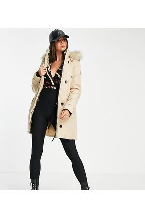 Vero Moda Tall Parka with faux fur lined hood in -Neutral