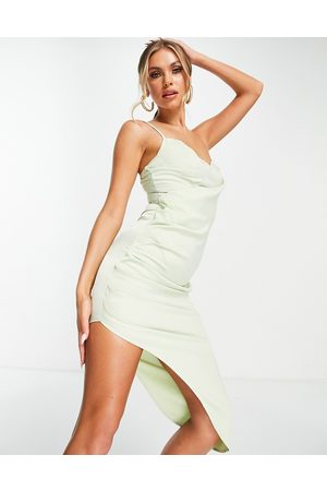 Missguided Satin drape midi dress in sage-Green