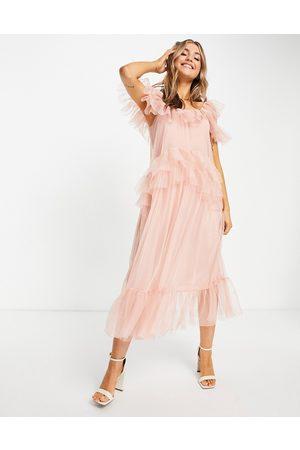 Miss Selfridge Damen Midikleider - Tulle midi dress in pink