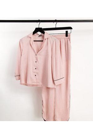 Vero Moda Tall Satin piped pyjama set in pink polka dot