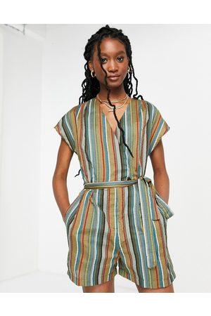 French Connection Striped open back playsuit in multi