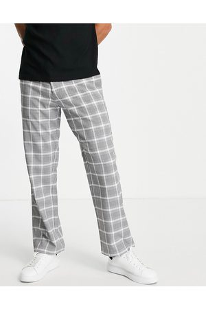 Topman Wide leg check trousers in grey and white-Black