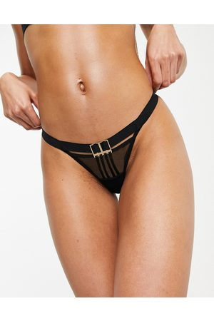 Bluebella Nia mesh and strapping thong with hardware detail in black