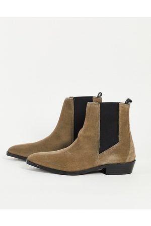 AllSaints All Saints markus chelsea boots in taupe suede-Neutral