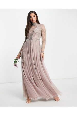 ASOS Bridesmaid pearl embellished bodice maxi dress with tulle skirt-Multi
