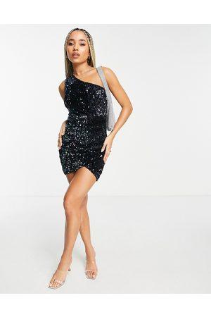 AX Paris One shoulder sequin bodycon dress in black